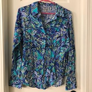 NWT Lilly Pulitzer Sea View Rayon Voile Shirt